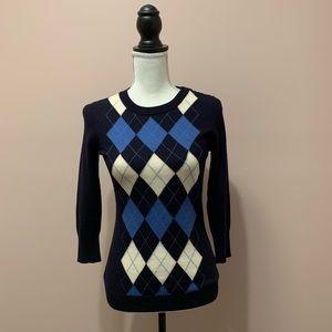 J.Crew Factory Wool Blend Argyle Crew Neck Sweater